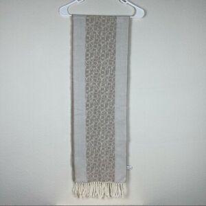 Calvin Klein neutral monogram fringe scarf