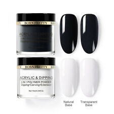 2 Boxes 10ml BORN PRETTY 3 IN 1 Polymer Acrylic Dipping Powder Black White Nail