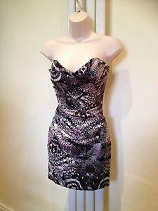 LIPSY Grey Lilac Black Satin Bandeau Strapless Bustier  Dress Size 8 BRAND NEW
