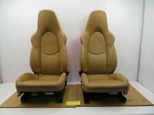 07-09 Porsche 911 Turbo 997 #1086 16-Way Power Beige Sport Seats W/ Guards Red