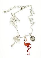 Pink Enamel Joy Flamingo Necklace 16 inch Chain Copper Zinc Painted
