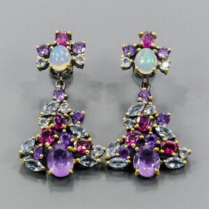 Handmade Design earrings Amethyst Earrings Silver 925 Sterling   /E55194