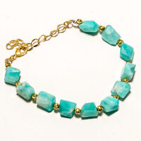 925 Solid Sterling Silver Gold Polished Natural Amazonite Chain Bracelet
