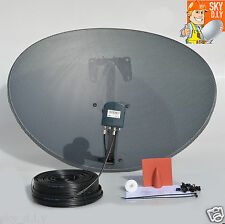 Zone 2 Sky Satellite dish & Octo LNB & 20m Black Twin Coax Cable Kit