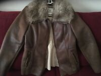 Guess Womens Faux Leather faux fur collar women's Jacket Brown Size Large
