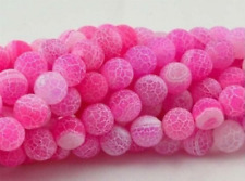 "8mm Pink Frost Dream Fire Dragon Veins Agate Loose Beads Gems 15""-"