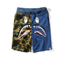 Hot A Bathing Ape Japan Men's Bape Shark Jaw Shorts Camo Print Color Pants