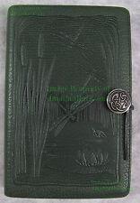 "RETIRED Vintage Oberon Leather Journal DRAGONFLY Frog Pond LARGE 6"" x 9"" Pewter"