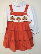New Vive La Fete Smocked Turkey Jumper / Dress & Matching Top Girl's Sz 6 Month
