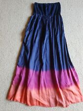 Monsoon Silk Mix Maxi Bandeau Dress in Navy Blue. Bead Edge. Size M