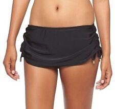 *NEW* Women's bikini Drawstring Swim Skirt Bottoms BLACK Skirtini Bathing Suit