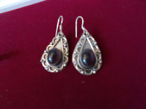 Vintage Indian amethyst earrings unmarked silver for pierced ears good condition