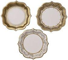 TALKING TABLES PARTY PORCELAIN GOLD 12-Pack 3 Designs Medium Tea Party Plates