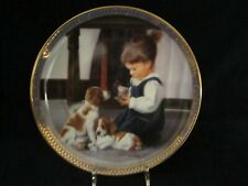 TIME FOR TEA collector plate KEVIN DANIEL Springer Brittainy Spaniel ?? DOG PUP