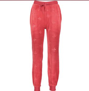 Juicy Couture Velour Logo Embossed Tracksuit Bottoms Lipstick Red Medium