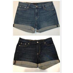 "NWT BANANA REPUBLIC 4"" Denim Shorts Sz 4-6-8-10-12-14 Dark Medium Stretch"