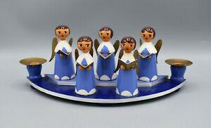Kurrende Sternsinger Chor - 5 Engel & 2 Kerzenhalter blaues Podest Goldakzente