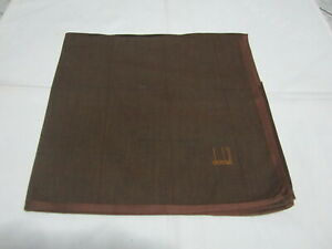 "USED BROWN PLAID PATTERN COTTON 18"" POCKET SQUARE HANDKERCHIEF HANKY FOR MEN"