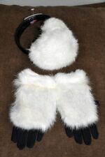 EARPHONES EARS GLOVES NATURAL RABBIT EARMUFFS WINTER COLD WHITE GREY