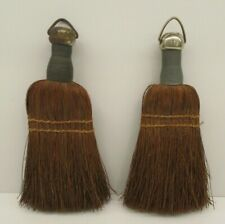 Lot of 2 Vintage Wire Wrapped Hand Held Whisk Brooms Primitive Rustic Farmhouse