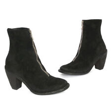 GUIDI Rare Black Suede Leather Zip Womens High Heel Ankle Boots size 38 1/2