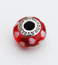 "Genuine Pandora Murano Glass Bead ""Red and White Hearts"" - 790948 - retired"