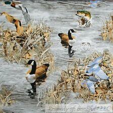 BonEful Fabric FQ Cotton Quilt Brown Blue Bird Hunt Fish Duck Lake Log Cabin USA