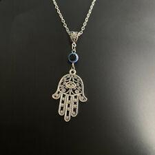 "Hamsa Hand Necklace 18"" Hand of Fatima Spiritual Yoga Buddha Evil Eye Pendant"