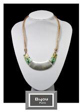 Luxus Lederkette Statement Kette Halskette Bi&Jou Paris Perlmutt Korallen-Perlen