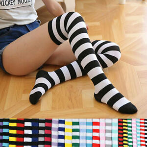 Women Over The Knee Socks Plain Striped Thigh High Stretchy Long Foot Stockings