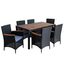 B-Ware Polyrattan Sitzgruppe Gartenmöbel Set Rattanmöbel Holz Essgruppe Schwarz