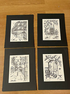 VTG 1960/70's Signed George Luttrell New Orleans French Quarter Set Of 4 Drawing