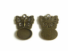 10 x Antique Bronze Butterfly Oval Pendant Tray Cabochon Base Settings 13x18mm