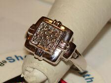 Estate 10K SOLID WHITE GOLD 9 Brilliant Cut Diamond Ring 2.7Gms Sze6 SEE ALLPICS