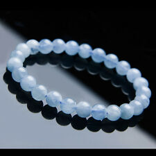 7mm Natural Blue Aquamarine gems Round Beads Healing Bracelet AAA
