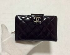 CHANEL Authentic CC Logos Quilted Wallet Purse Patent Leather
