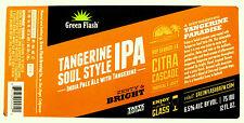 Green Flash Brewing  TANGERINE SOUL STYLE IPA beer label CA 12oz