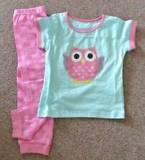 New Little girls 100% cotton short sleeve Owl pajamas Turquoise/pink 2-3 years
