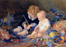 Oil painting Timoleon Lobrichon - champ de bataille Children after tired playing