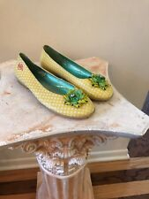 Oilily WOMENS YELLOW LEATHER POLKA DOT BALLET FLAT Shoes Size 36 US 6