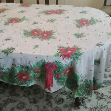 "Vintage Christmas Holiday Tablecloth Red Green Poinsettias 68"" x 70"""