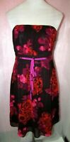 TEATRO UK 14 MIX PINK FLORAL SWEETHEART NECK STRAPLESS DRESS  PROM WEDDING PARTY