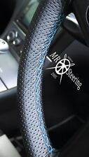 FOR AUDI A4 B5 B6 PERFORATED LEATHER STEERING WHEEL COVER LIGHT BLUE DOUBLE STCH