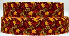 "Grosgrain Ribbon 7/8"" & 1.5"" Fall Leaves Thanksgiving Autumn Leaves Printed."