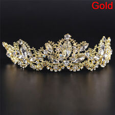 Rhinestones Baroque Bridal Crown Tiara Wedding Hair Headdress Flower King 0i Gold