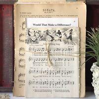 Old Sheet Music Ephemera Full Pages, Junk Journal Craft Scrapbooking 30PC
