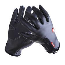 Leder Handschuhe Winter Herren Damen Sporthandschuhe Touchscreen Thermo Schwarz