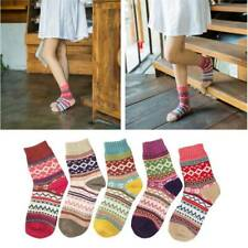 5 Pairs Women Warm Wool Thick Winter Socks Nordic Stripe Style Novelty Socks UK
