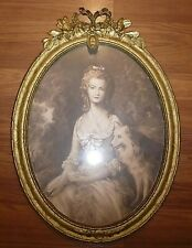 Large Antique Oval Framed Lady and Spitz Dog Print