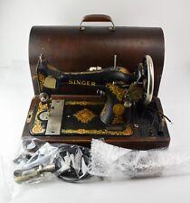 Antique Singer 128 Sewing Machine in Bentood Case Parts or Repair - DZ1